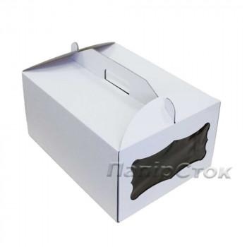Коробка тортовая 410х310х180 с окном микрогофр. картон 2 ч.