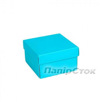 Коробка с мелов.картон. голубая 90х90х50 самосборная 3ч.