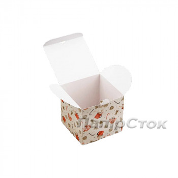 Коробка с мелов.картон.100х100х100 Рождество самосборная