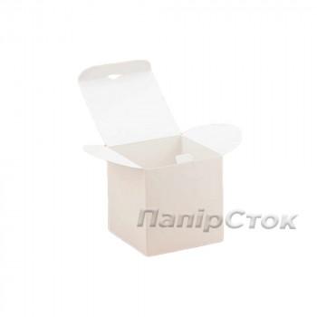 Коробка с мелов.картон.белая 100х100х100 самосборная