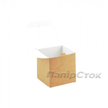 Коробка с мелов.картон. крафт 100х100х100 самосборная