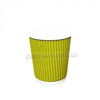 Стакан гофр. 185 мл желтый (25/900, КР-69 фигур.)