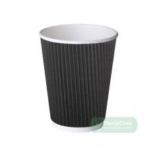 Стакан гофр. 275 мл чорний (20/500, КР-80)