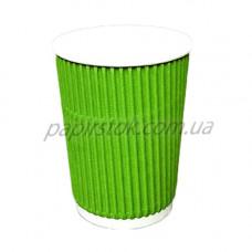 Стакан гофр. 400 мл зелений (25/500, КР-90 фігур.)