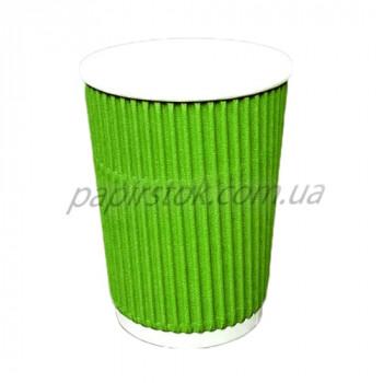 Стакан гофр. 400 мл зелёный (25/500, КР-90 фигур.)