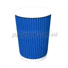 Стакан гофр. 400 мл синій (25/500, КР-90 фігур.)