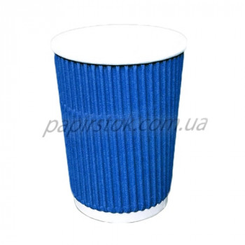 Стакан гофр. 400 мл синий (25/500, КР-90 фигур.)