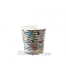 Стаканчики паперові кольорові 110 мл  №21 KISS (50/4000)
