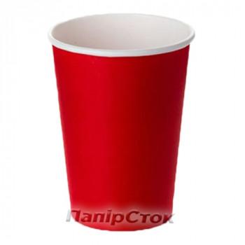 Стаканчики бумажные цветные 500 мл Красный (50/1000) (КР-89)